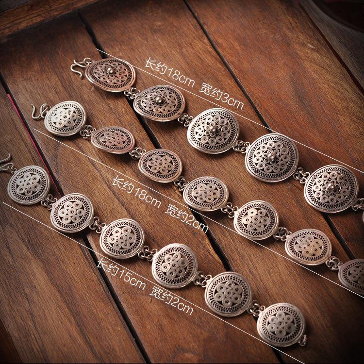 Yunnan Miao ethnic customs hollow silver jewelry Miao Silver Bracelet FREE SHIPPING