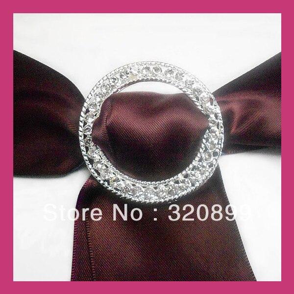 100pcs Lot 50mm Outer Round Wedding Chair Sash Buckle Rhinetone Ribbon Slider Rhinestone