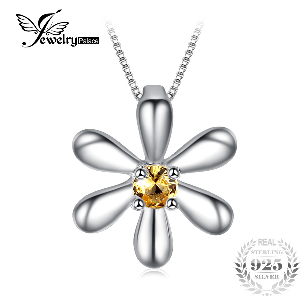 JewelryPalace Flowers Created Orange Sapphire Pendant