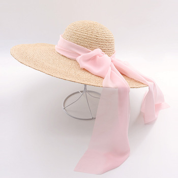 Muchique wide brim raffia straw hats for women fashion summer beach hats with chiffon ties sun.jpg 350x350