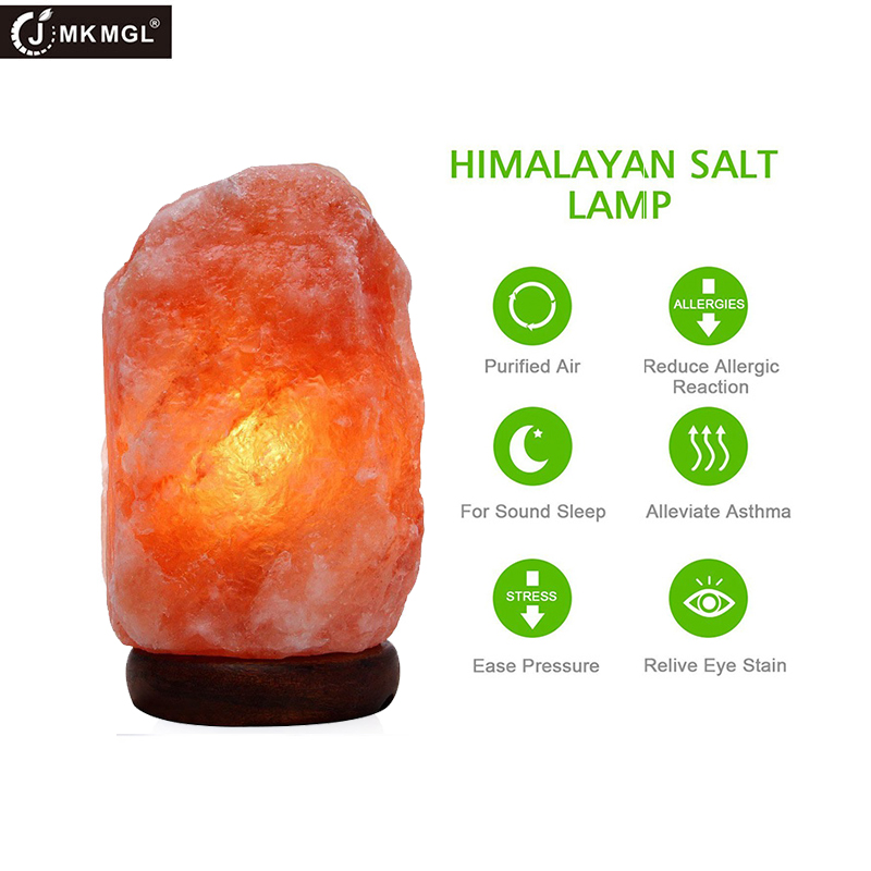 JMKMGL Himalayan Salt Lamp Night Light Air Purifying With Dimmer Switch Natural Crystal Light, 1.5-2Kg Natural Table Salt Lamp oygroup mini hand carved natural crystal himalayan salt lamp night light cylinder shaped illumilite lamp salt light oy17nl02