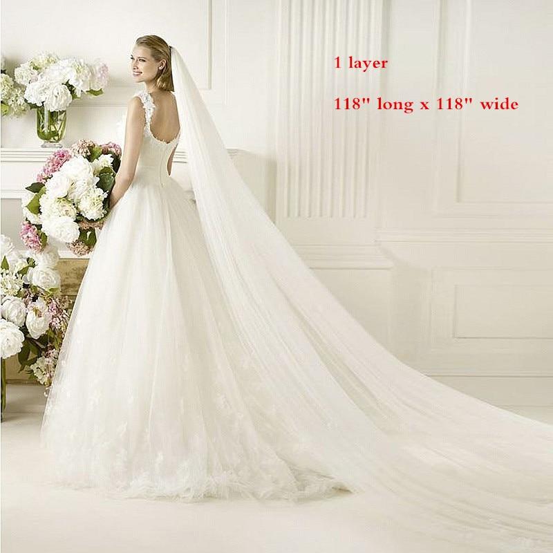 Single Layer Cut Edge Wedding Veil Cathedral Bridal Veil 118