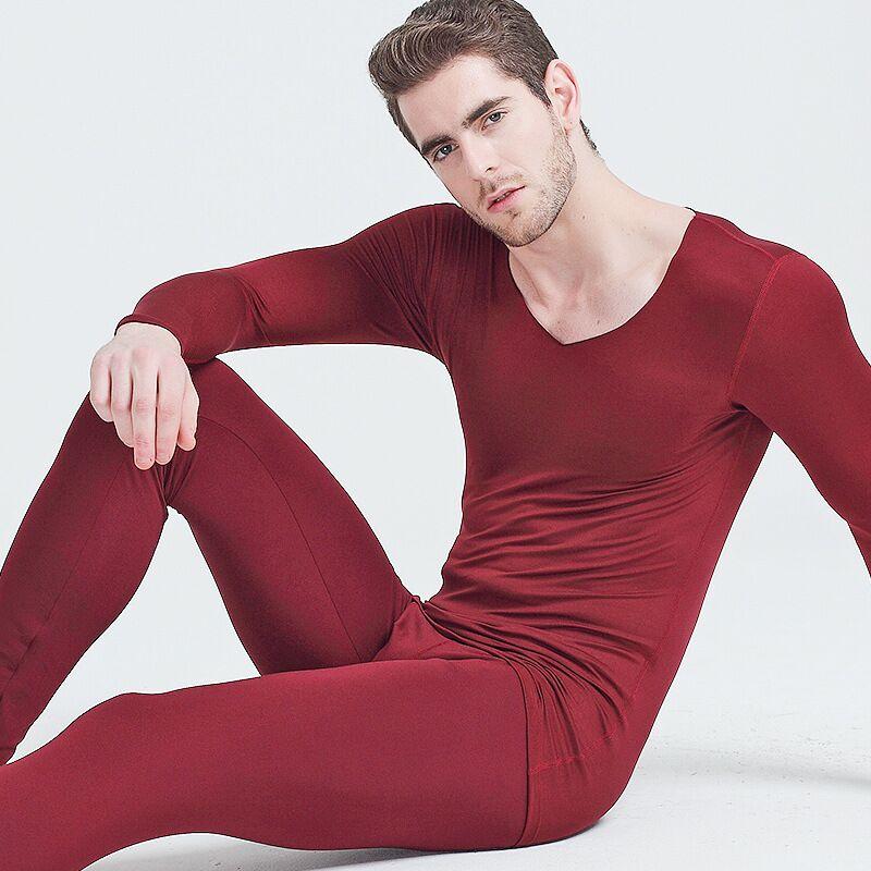 d591a1684 Conjunto de ropa interior térmica Calzoncillos largos para hombre Otoño  Invierno Tops + Pantalones ...