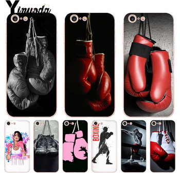 Yinuoda For iphone 7 6 X Case Cartoon Boxing Girl Gloves Pattern tpu Soft Phone Cover Case for iPhone 8 6S Plus X 5 5S XS XR 4S telephony
