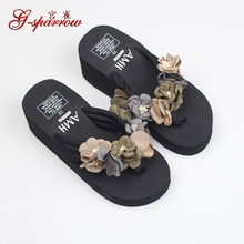 2017 Nouveau Confortable De Luxe Haute Talons Plate-Forme des Femmes Glissement Sur Chaussures de Plage Flip Flops Pantoufles Vente