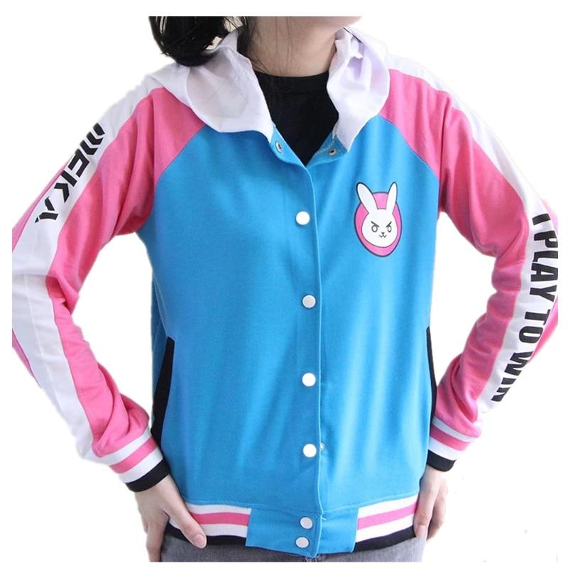 Harajuku Kawaii Hoodies Game OW Cosplay Costume Fashion Hooded Sweatshirts DVA Jackets Women  Girls D.VA Sport Coat