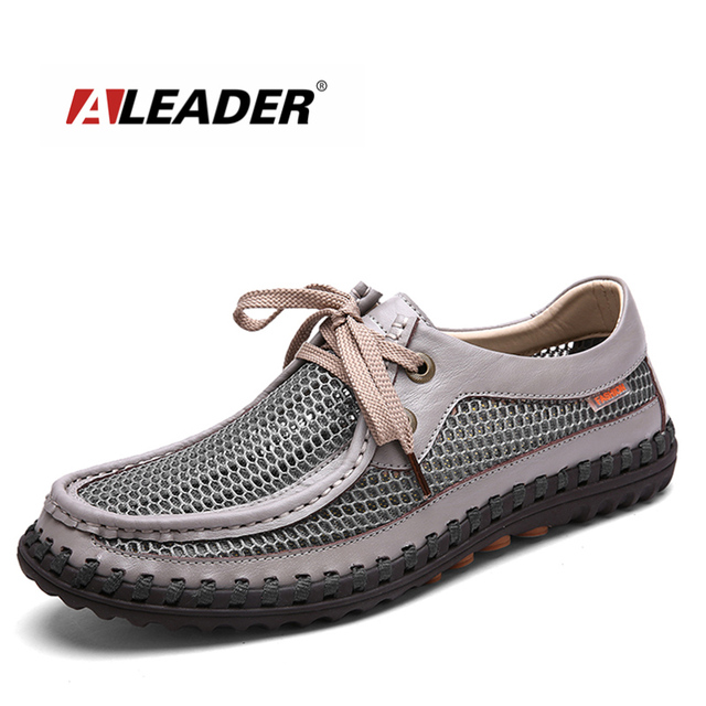 Aleader 2016 Fashion Breathable Men Shoes Casual Handmade Genuine Leather Mesh Shoes For Men Flat oxford Men Tenis Masculino
