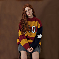 Korean Fashion Women Pullover Sweater Jacquard Striped Letters Loose Knitting Hooded Long Sleeve Autumn Winter 2017