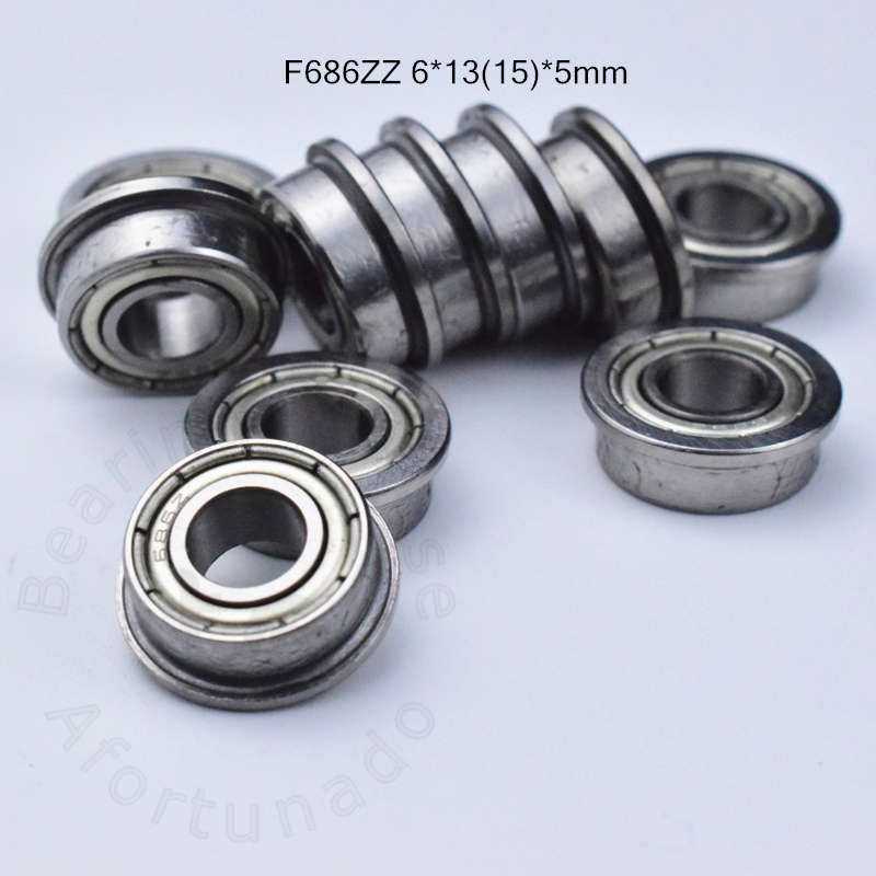 F686ZZ 6*13(15)*5mm 10pieces Free Shipping Bearing ABEC-5 Flange Bearings 686 F686Z F686ZZ Chrome Steel Bearing