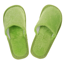 Green Men Women Home Anti-slip Shoes Soft Warm Cotton Sandal House Indoor Slippers 26.5