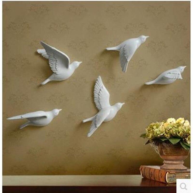 Resin bird three dimensional wall decor stickers