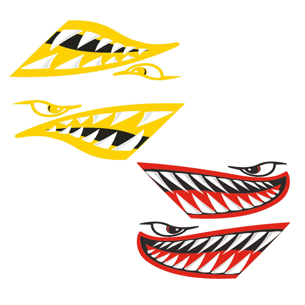 Porable 4 pieces vinyl large shark teeth mouth decals art stickers for kayak canoe boat fishing motorcycle car truck sticker