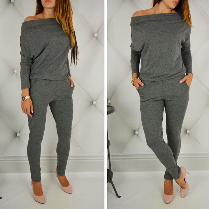 Women Sweat Suit Set  2019 Autumn Fashion Solid Long Sleeve Slash Neck Sets Sexy Off Shoulder Pocket Female Sport Tracksuit