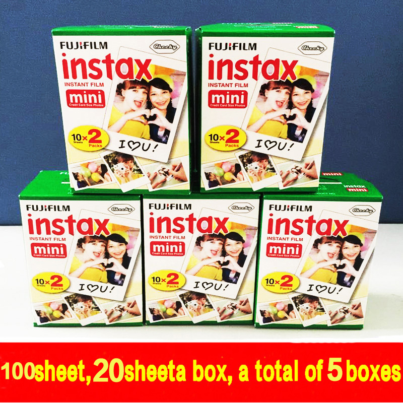 Prix pour Véritable 100 feuilles De Haute qualité D'origine Fujifilm instax mini 8 film pour 7 S 25 50 s polaroid appareil photo instantané mini film blanc edage