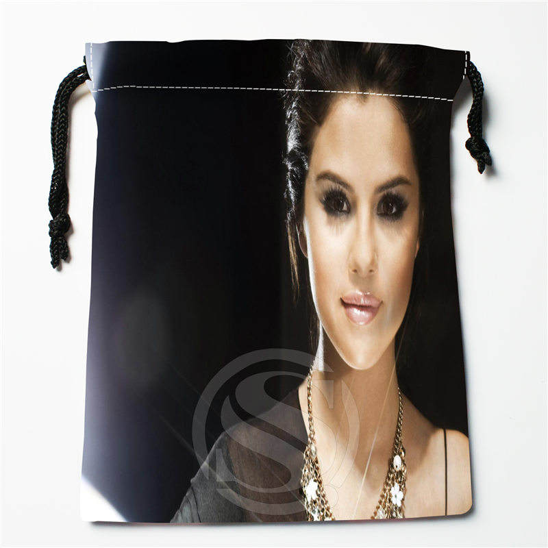 T&w124 New Selena Gomez &z Custom Printed  Receive Bag Compression Type Drawstring Bags Size 18X22cm F725&T124ty