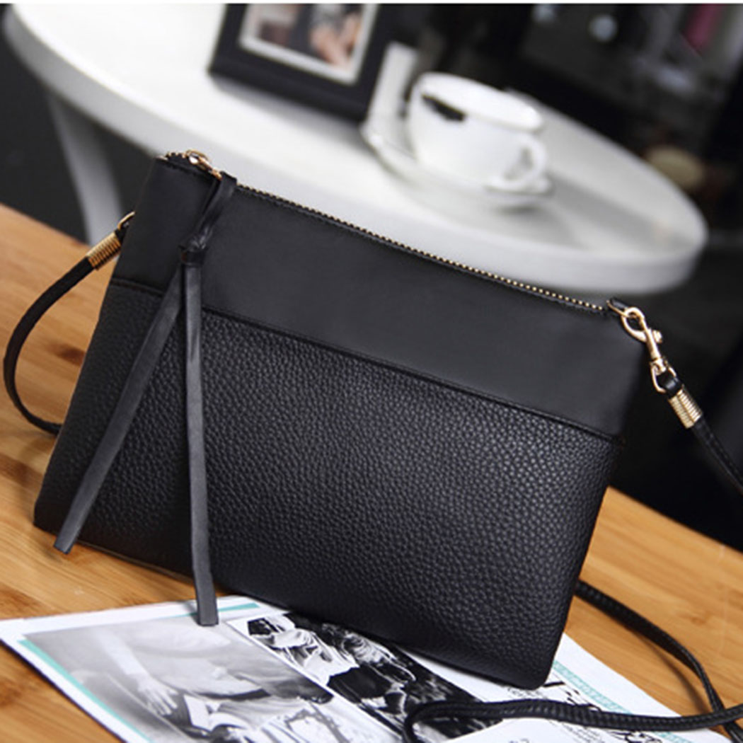 58b4e42f9d18 Coofit Women s Clutch Bag Simple Black Leather Crossbody Bags Enveloped  Shaped Small Messenger Shoulder Bags Big Sale Female Bag-in Shoulder Bags  from ...