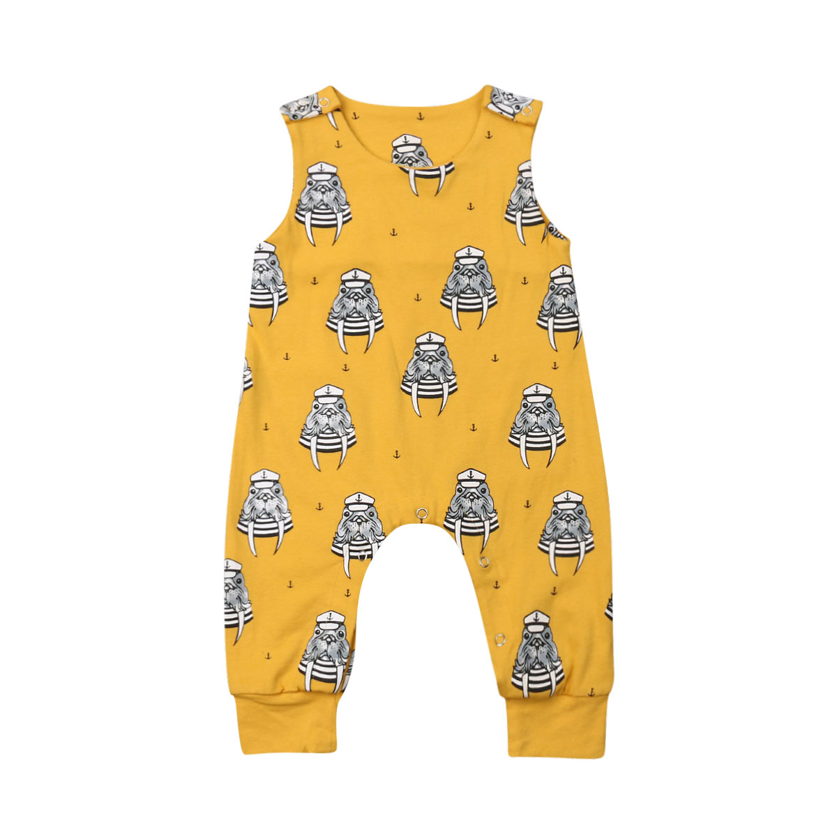 Cotton Newborn Baby Boy Girl Sleeveless Cartoon Animal Loose Casual   Romper   Jumpsuit One Pieces Summer Clothes