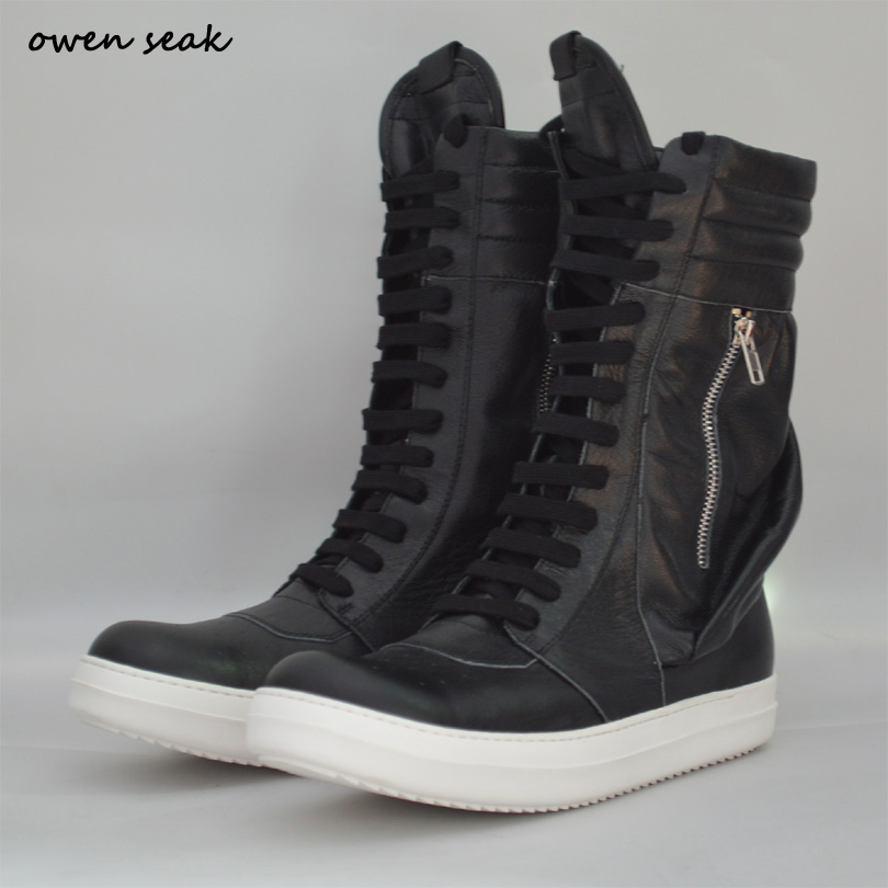 Owen Seak Women Genuine Leather Shoes High-TOP Ankle Luxury Trainers Winter Boots Lace Up Casual Brand Zip Flats Black