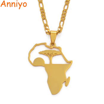 Aniyo africano árbol y Sunrise colgante collares para hombres mujeres niñas, mi hogar en África joyería oro Color cumpleaños regalo #112121