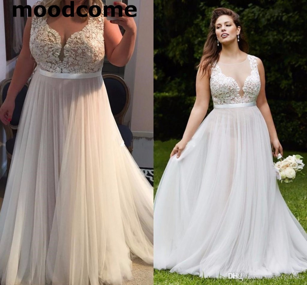 2018 Vintage Country Lace Plus Size Wedding Dresses Sheer