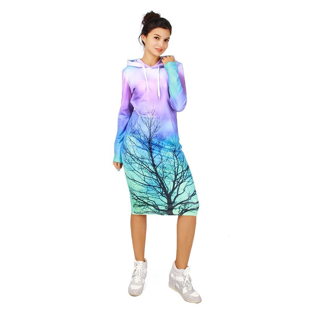 Plus Size Thicken Hoodies Dresses Winter 3D Aurora Tree Print Long Sleeve Drawstring Pocket Tracksuit Hooded Sweatshirt Dress