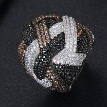 GODKI Monaco projektant luksusowe Twist linie geometria Cubic cyrkon zaręczyny dubaj Naija Bridal Finger pierścionki biżuteria uzależnienie
