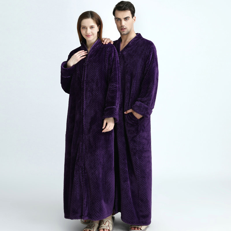 ... Plus Size Long Thick Flannel Warm Lovers Dressing Pregnant Bathrobe  Winter Thermal Gown ... 2919b26ca