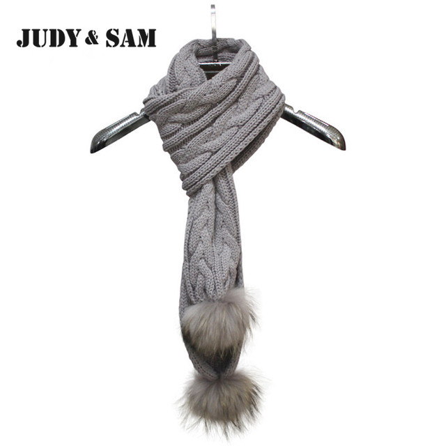 Hotsale 2015 JSFUR Brand Long Women Knitting Infinity Scarf 15 Color Thicker Muffler Scarves Brand with Real Raccoon Fur Pom Pom