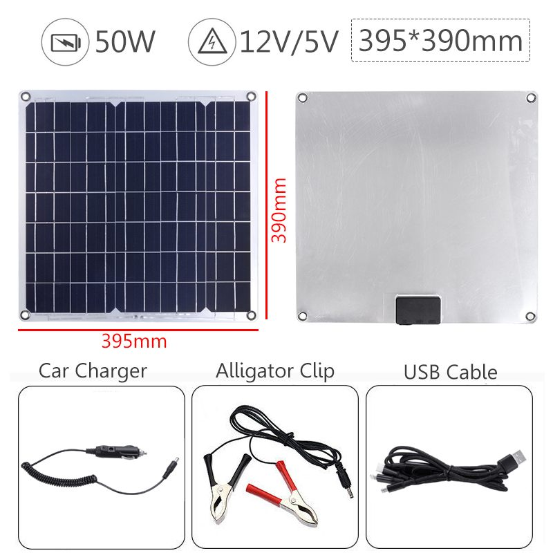 Image 3 - 50W Solar Panel Solar Cell Cell Module DC for Car Yacht Led Light RV 12V Battery Boat Outdoor Charger 39.5X39cm-in Solar Cells from Consumer Electronics