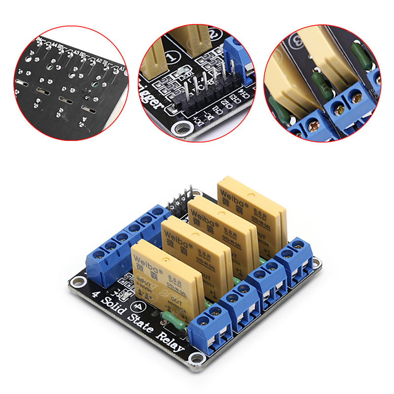 4 Channel SSR Solid State Relay High-low Trigger 5A 3-32V For  Uno R3 H02 2017 new 250v 2a 8 channel omron ssr g3mb 202p solid state relay module for arduino mfbs