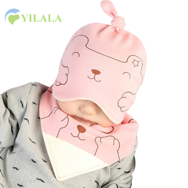 Cartoon Baby Hat Cat Print Baby Sleeping Beanie Boys Girls Autumn Hat Cotton Newborn Baby Sleeping Hat Baby Girls Clothing 3-12M