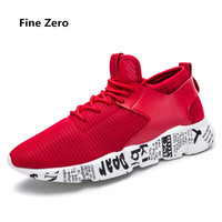 Fine Zero 2018 Unisex Lace Up Casual Shoes Men Black Red Grey Basket Spring Summer Autumn
