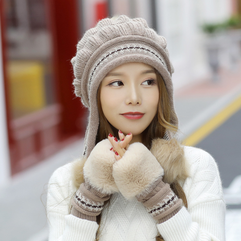 Fashion Women 39 s Winter Hats Fur Hats Fox Fur Hat Pom Poms Ball Beanie Caps Knitting Thick Skullies Female Cap Gorros with Gloves in Women 39 s Skullies amp Beanies from Apparel Accessories