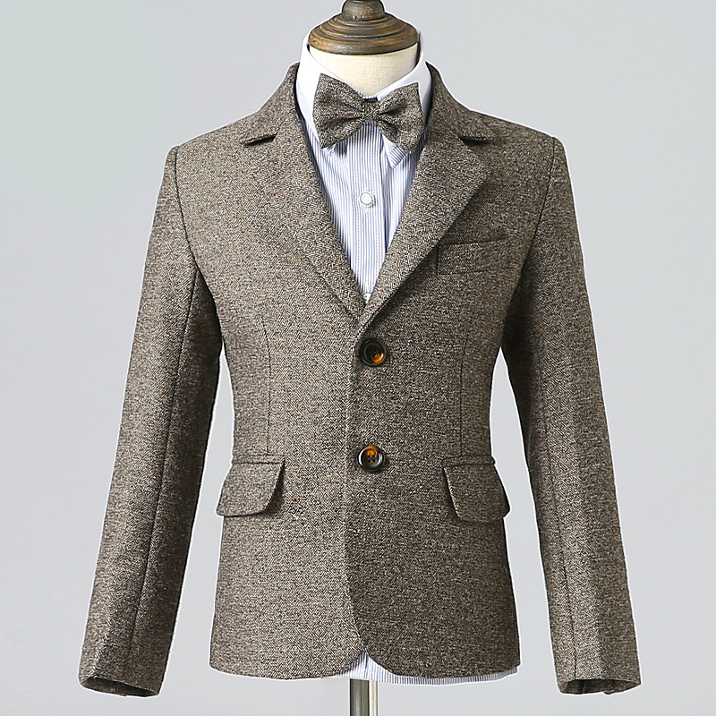 5pcs/set Brown Boys Suits For Weddings Flower Boys Spring Children's Day Chorus Show/Performance Blazer Suits Costume Garcon