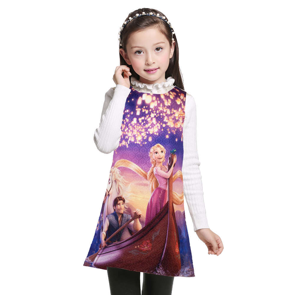 Children Girls Party Dresses Summer 2017 Brand Princess Dress Girls Clothes Rapunzel Printed Kids Clothes Robe Fille Enfant плита электрическая simfer f55vw04017