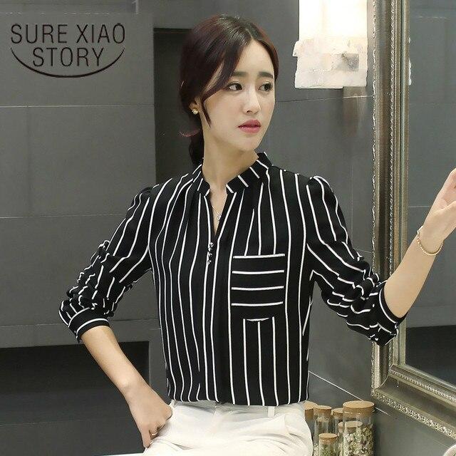 51dd77a42932 2017 Korean Style Long Sleeve Casual New Spring Plus Size Women Striped  Shirt V Collar Shirt Chiffon Shirt 800C 30