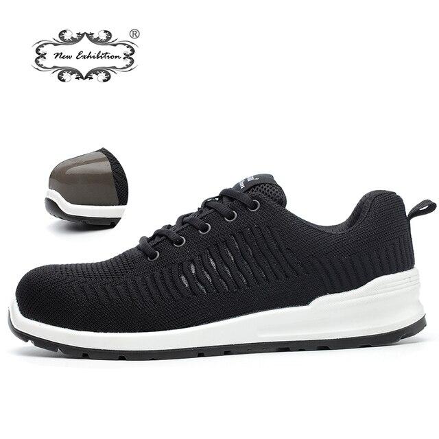 Yeni sergi Uçan örgü Nefes çelik burun Emniyet Ayakkabı Erkekler anti-pierce Enjeksiyon alt İş Güvenliği boots 2019 Sneaker