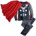2016 primavera superman hero coapaly niños tres piezas conjuntos capa + de la manga completa camisas + pantalones traje de dos piezas embroma la ropa conjuntos de moda