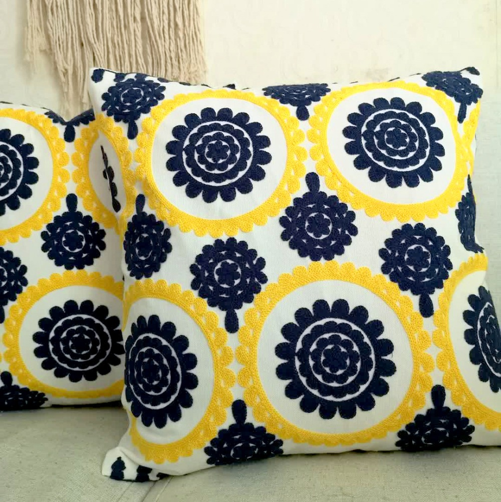 Pink Cushion Cover Cute Floral Geometric Embroidery Pillow Case With For Sofa Bed Simple Home Decorative 45x45cm Sofa Bed Cushion Cover Table & Sofa Linens