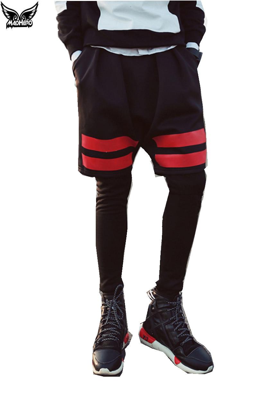 Mens Basketball Short Pants Cotton Fake Two Piece font b Running b font Shorts Basketball Shorts