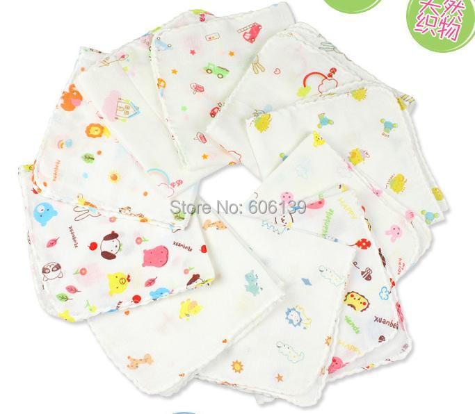 Lovely High-density double-layer gauze cloth baby saliva towel baby wipes small towel 50pcs/lot free shipping