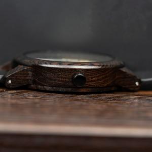 Image 4 - BOBO BIRD Ebony Wood Watch Men Timepieces Leather Strap Quartz Watches relogio masculino Mens Gifts Accept Logo Drop Shipping