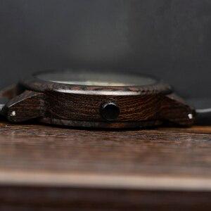 Image 4 - ボボ鳥黒檀腕時計メンズ時計レザーストラップクォーツ腕時計レロジオ masculino 男性のギフト受け入れるロゴドロップシッピング