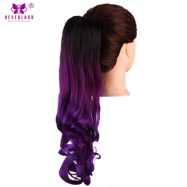 Aimei 20 Wavy Claw Ponytail Hairpieces Synthetic Hair Purple Ombre