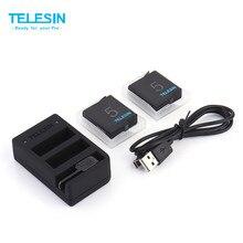 3-way telesin carregador multi-função carregador de bateria com display led para gopro hero 5 4 bateria com 2 pilhas
