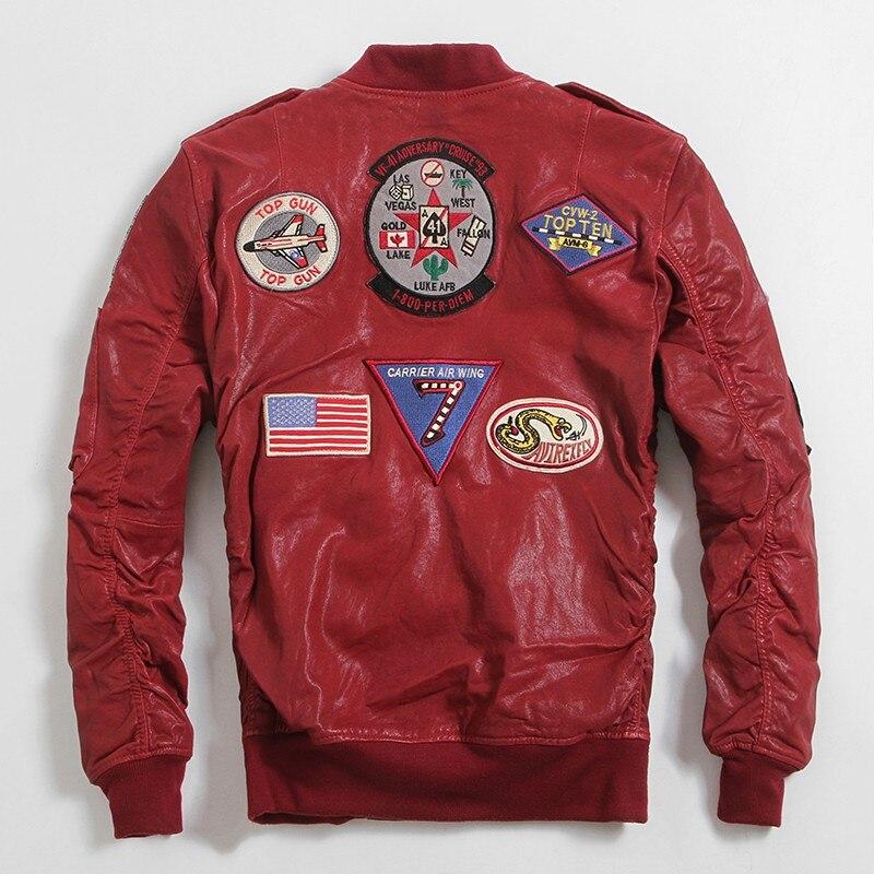 2019 chaqueta roja de piel de piloto auténtico talla grande XXXXXXL Slim Fit de piel de oveja abrigo de cuero de vuelo militar corto envío gratis