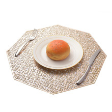 PVC Placemat For Dining Table Hollow Coaster Pads Bowl Mats Kitchen Christmas Home Decor Golden