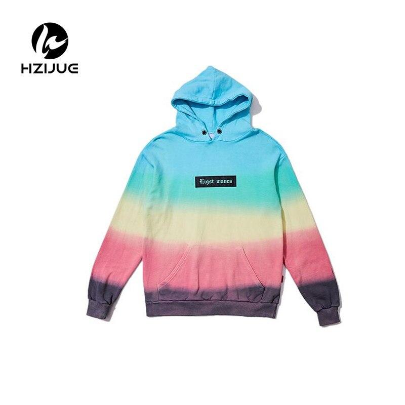 Коробка логотип печатается Цвет Tie Dye Радуга Толстовки Для мужчин 2017 хип-хоп Повседневный пуловер с капюшоном Кофты Hipster Повседневное олень ...