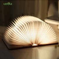 LEDGLE High Quality Night Light Folding Book Light USB Port Rechargeable Wooden Magnet Cover Home Table