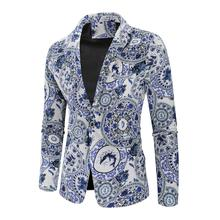 Suit Men Blazer 100% Cotton Ethnic style print Floral Jacket Slim fit Fashion 2019 New